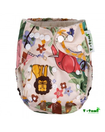 Bambusové plienkové nohavičky T-tomi All in One + 2 bambusové vkladacie plienky - Hnedá Afrika